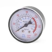 "Pressure Gauge 2"" Dia.Center Back Mount 1/4"" npt   0-180 PSI"